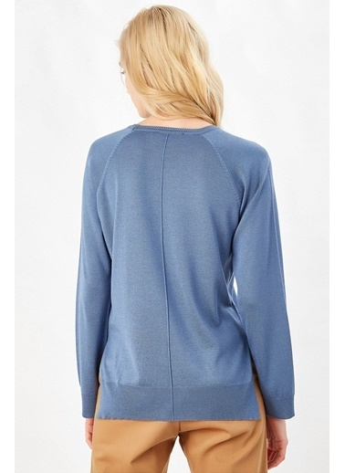 Peraluna Peraluna Mavi Renk Bisiklet Yaka Basic Kadın Triko Bluz Mavi